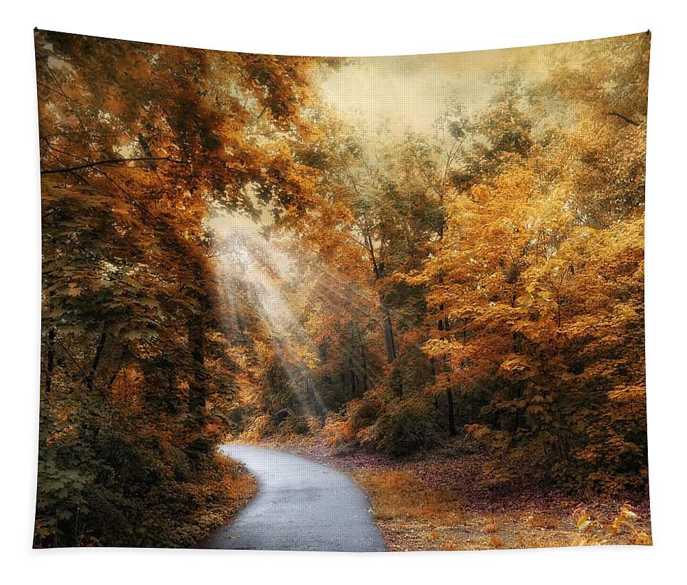 Nature Tapestry featuring the photograph Late Autumn Trail by Jessica Jenney