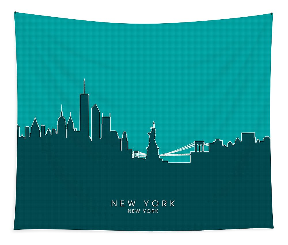 United States Tapestry featuring the digital art New York Skyline by Michael Tompsett