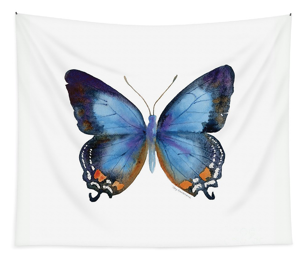 Imperial Blue Butterfly Tapestry featuring the painting 80 Imperial Blue Butterfly by Amy Kirkpatrick