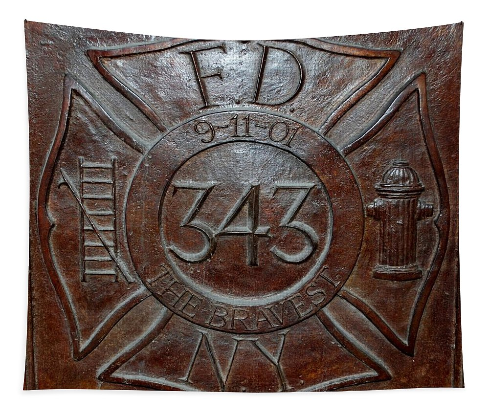Fdny Tapestry featuring the photograph 9 11 01 F D N Y 343 by Rob Hans