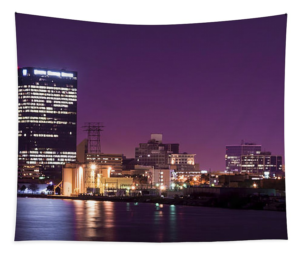 Toledo Tapestry featuring the photograph City Lights Skyline by Michael Shake