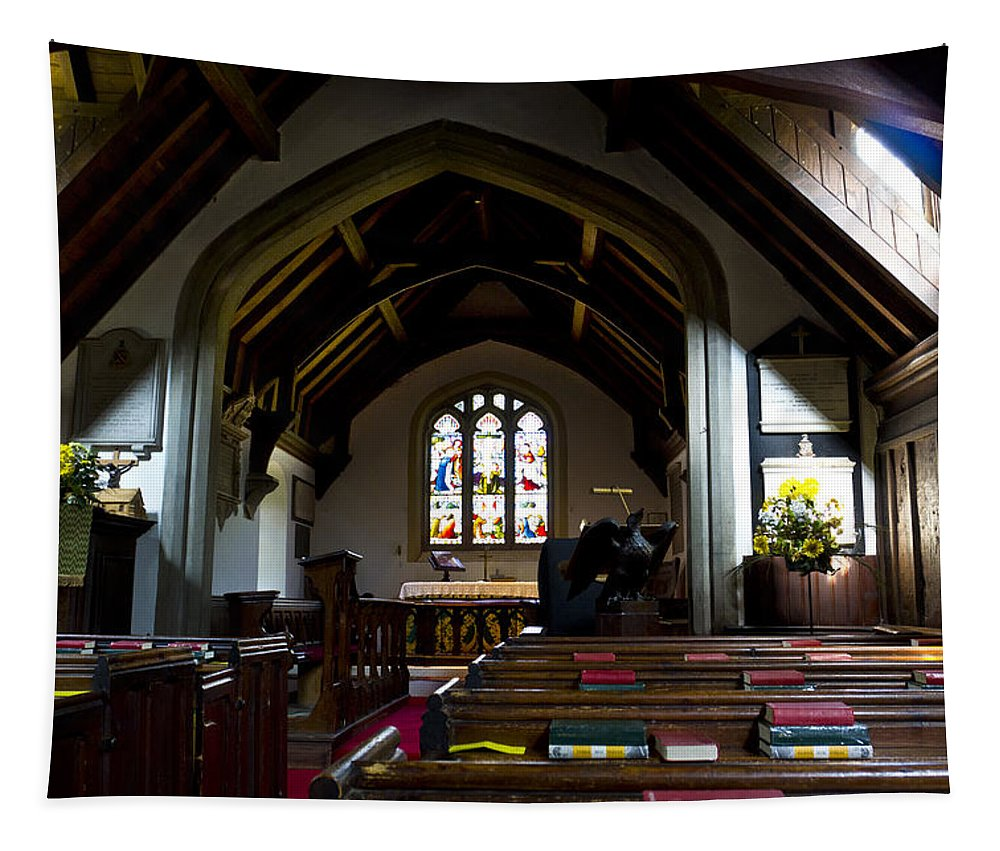 Church Tapestry featuring the photograph Greensted Church by David Pyatt