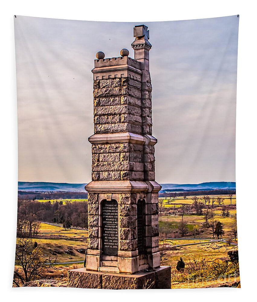 91st Tapestry featuring the photograph 91st Pennsylvania Infantry Monument by Nick Zelinsky