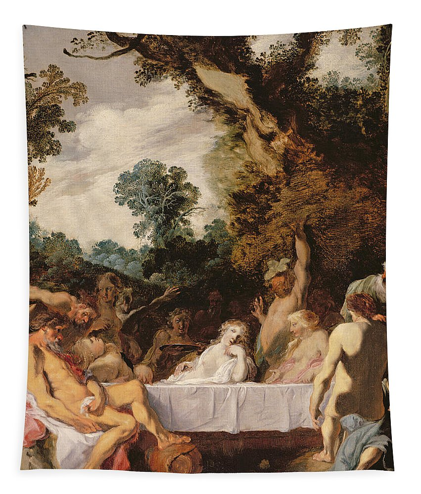 Orgy Tapestry featuring the painting A Bacchanalian Feast, C.1617 by Johann Liss or Lis or von Lys