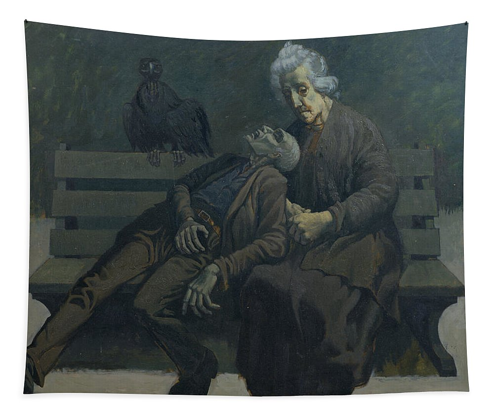Modern Pieta Tapestry featuring the painting A Bench In Paris, 1960 by Osmund Caine