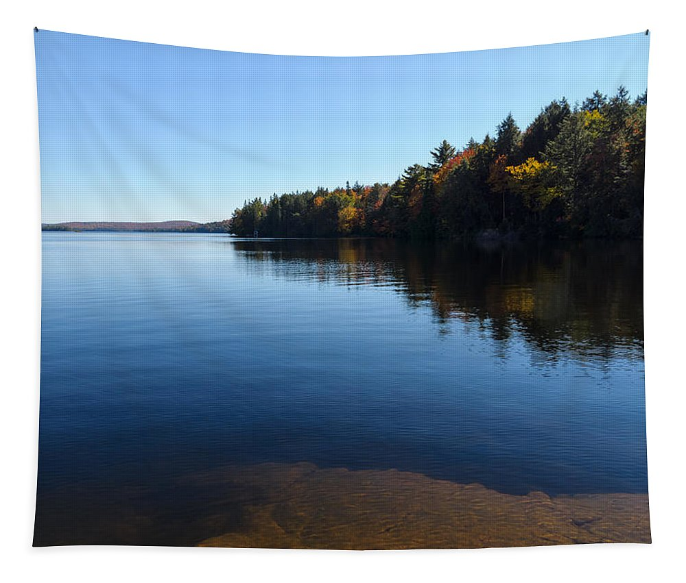 Blue Autumn Afternoon Tapestry featuring the photograph A Blue Autumn Afternoon - Algonquin Lake Tranquility by Georgia Mizuleva
