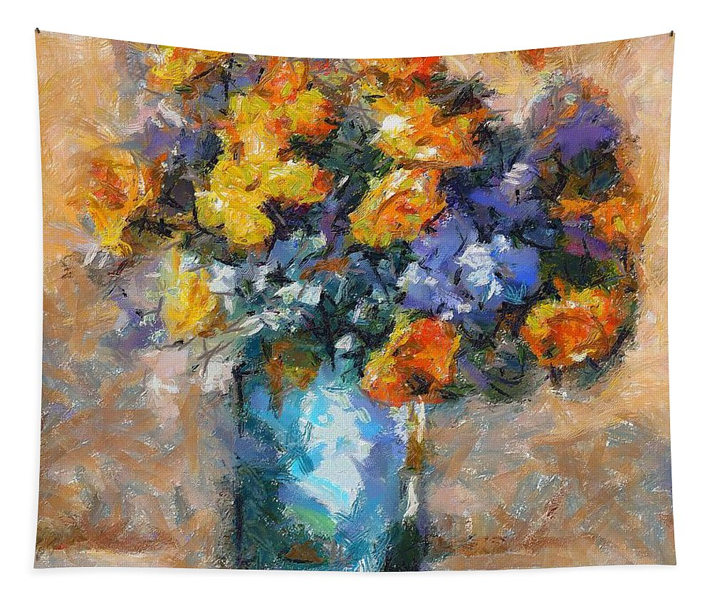 Stilllife Tapestry featuring the painting A Bouquet Of Meadow Flowers by Dragica Micki Fortuna