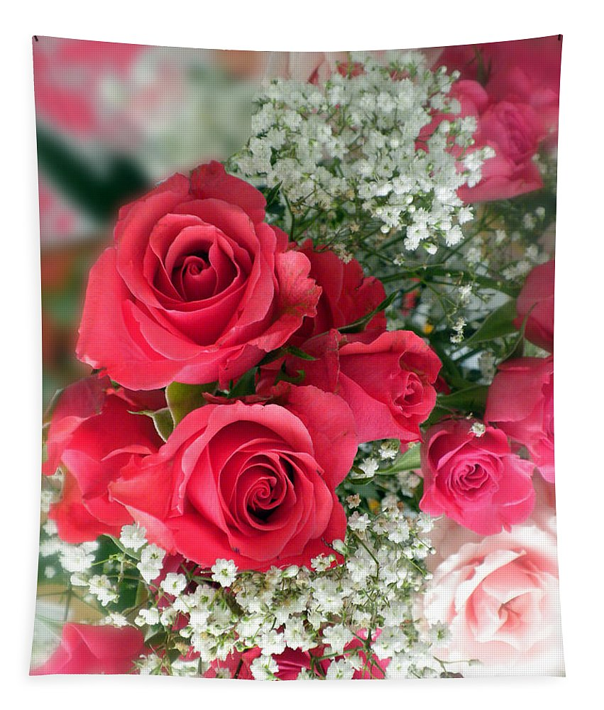 Rose Tapestry featuring the photograph A Bouquet Of Roses For You by Thomas Woolworth