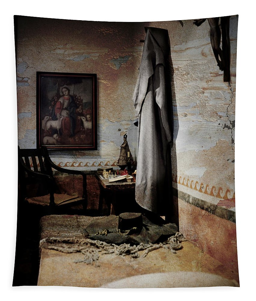 Santa Barbara Tapestry featuring the photograph A Cell In Santa Barbara Mission by RicardMN Photography