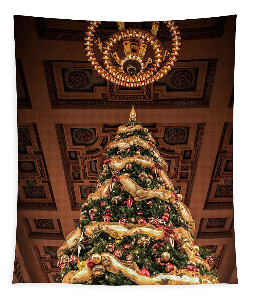 Christmas Tree Tapestry featuring the photograph A Christmas Tree At Union Station by Lynn Sprowl