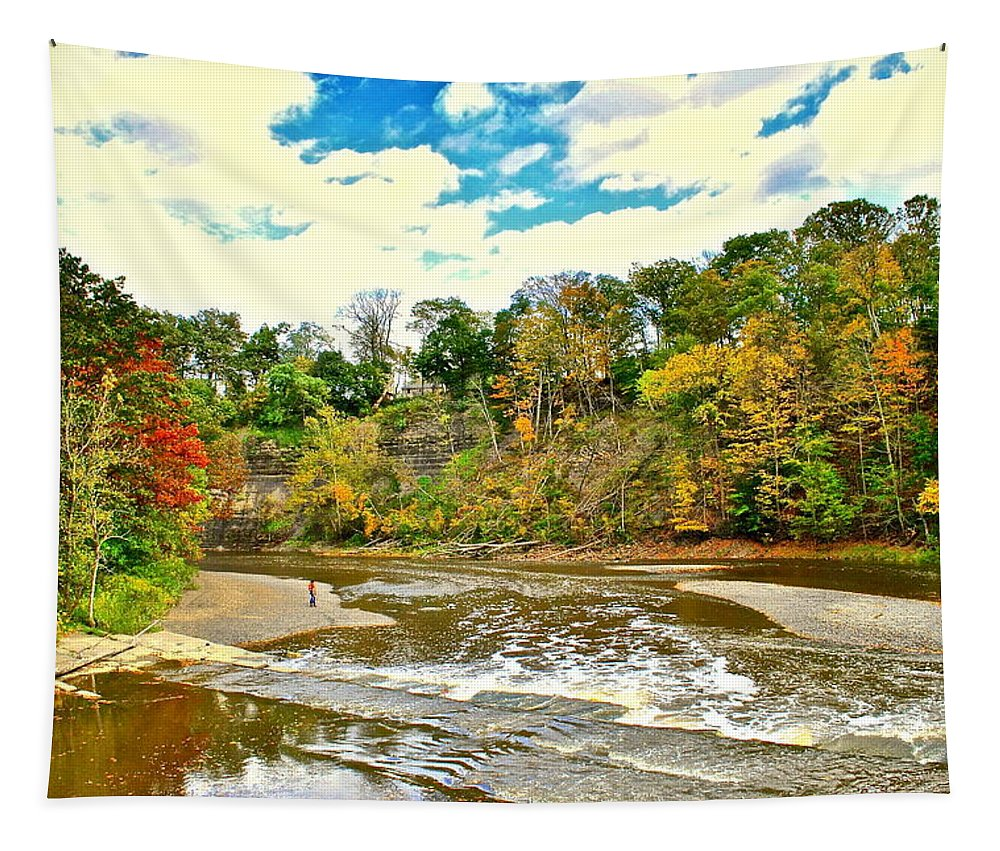 Landscape Tapestry featuring the photograph A Cleveland Autumn by Frozen in Time Fine Art Photography