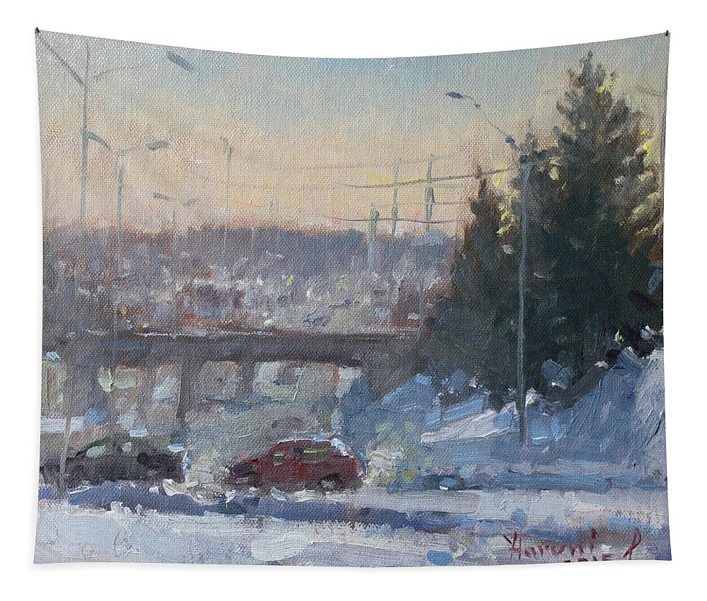 Cold Morning Tapestry featuring the painting A Cold Morning by Ylli Haruni