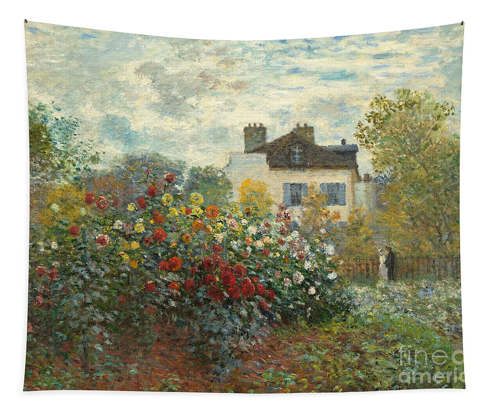 French Tapestry featuring the painting A Corner Of The Garden With Dahlias by Claude Monet