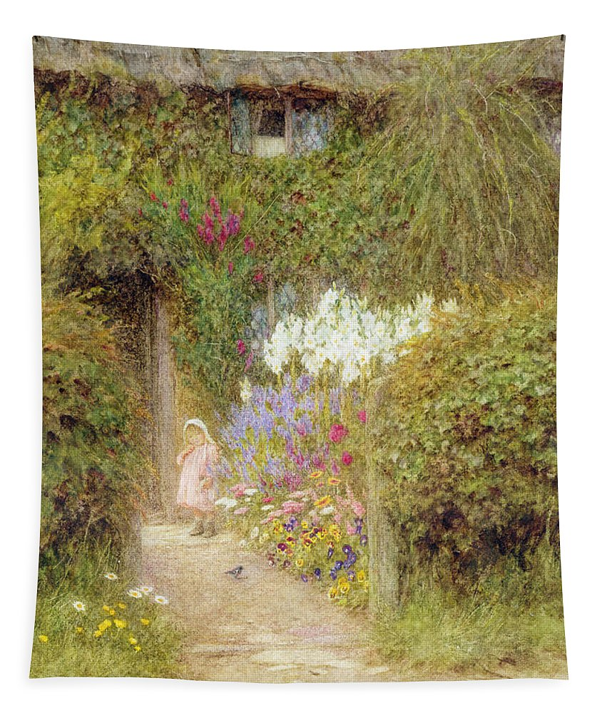 Garden Tapestry featuring the painting A Cottage At Redlynch by Helen Allingham