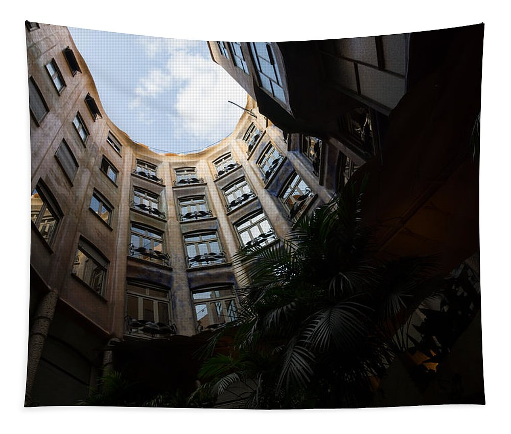 La Pedrera Tapestry featuring the photograph A Courtyard Curved Like A Hug - Antoni Gaudi's Casa Mila Barcelona Spain by Georgia Mizuleva