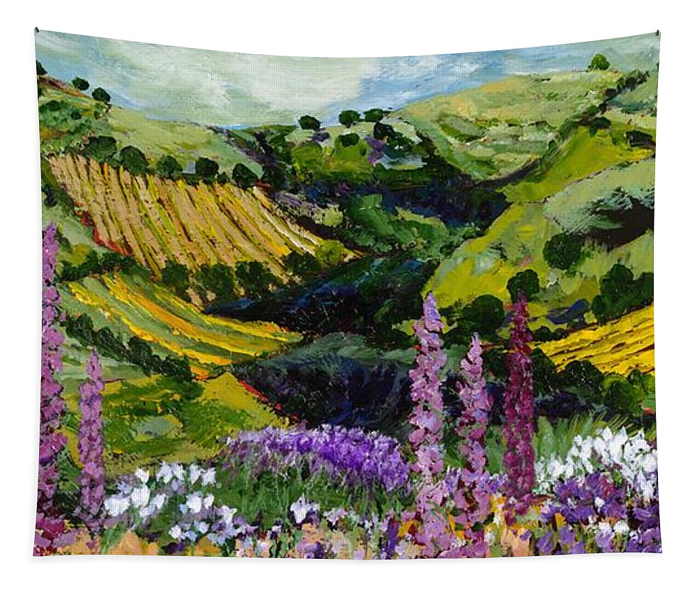 Landscape Tapestry featuring the painting A Different Garden by Allan P Friedlander