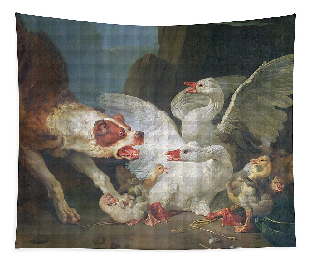 Goose Tapestry featuring the photograph A Dog Attacking Geese, 1769 Oil On Canvas by Jean-Baptiste Huet
