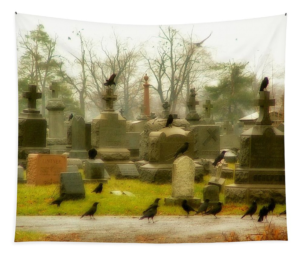 Crows In Autumn Tapestry featuring the photograph A Fall Gathering Of Crows by Gothicrow Images