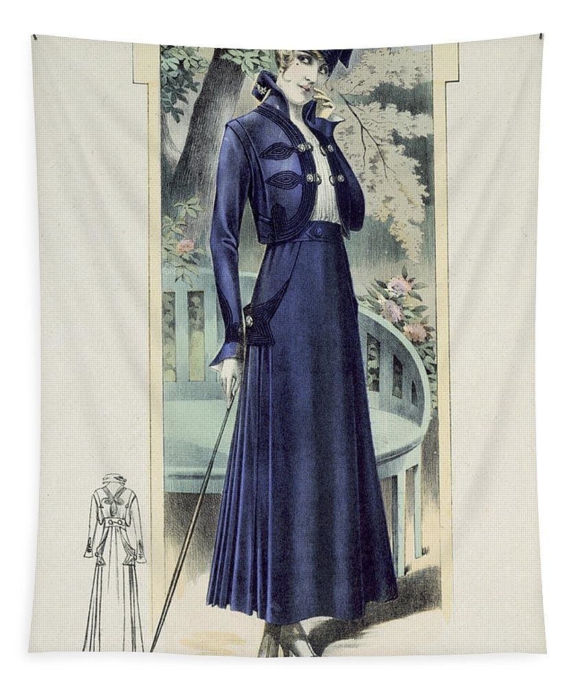 Female Tapestry featuring the painting A Fashionable French Lady by French School