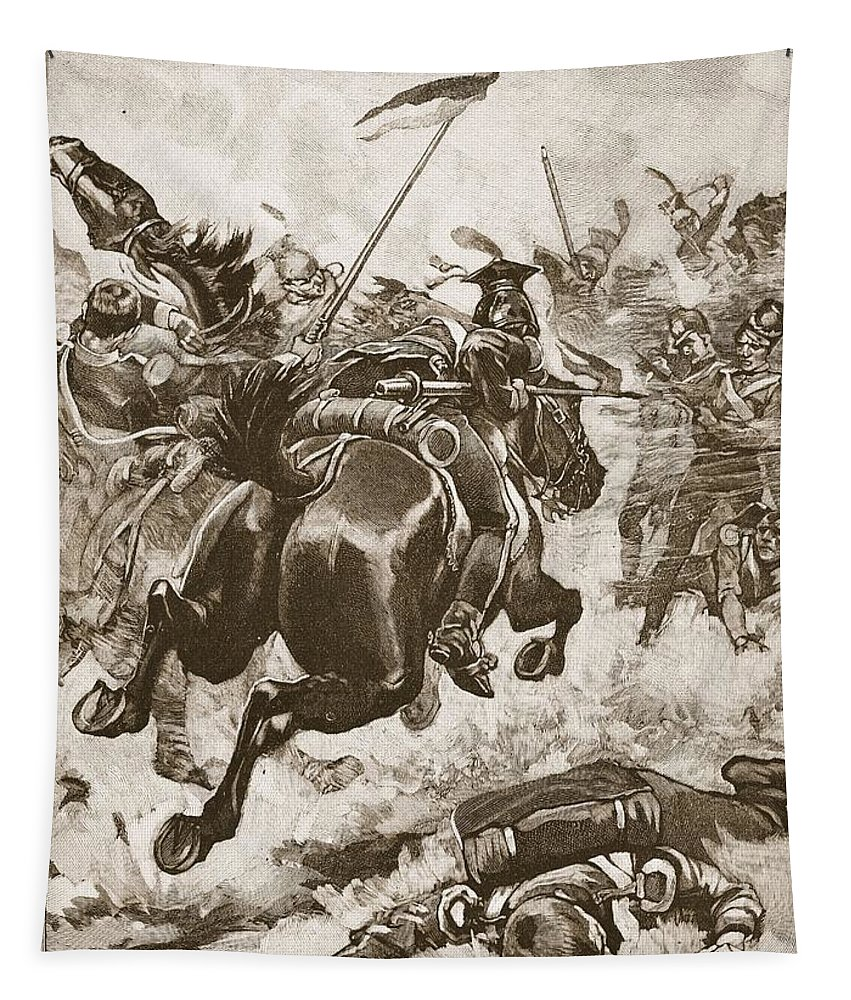 Fighting Tapestry featuring the drawing A Fierce Hand-to-hand Fight Ensued by Stanley L. Wood