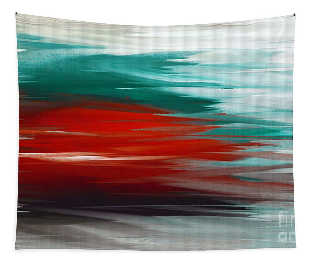 Abstract Tapestry featuring the digital art A Frozen Sunset Abstract by Andee Design