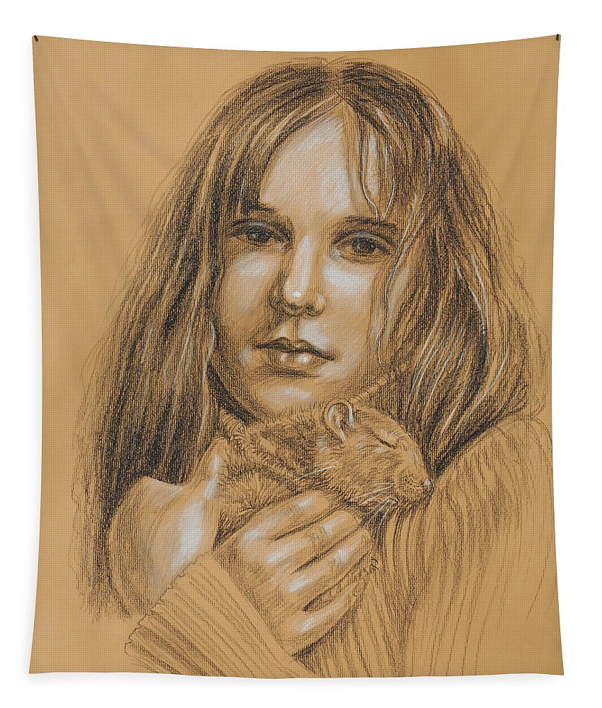 Girl Tapestry featuring the drawing A Girl With The Pet by Irina Sztukowski