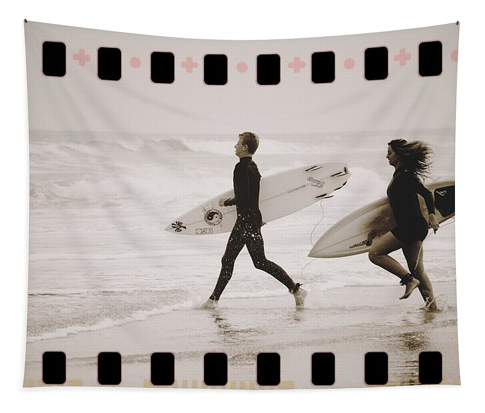 Surfers Ocean Waves Surfboards Tapestry featuring the photograph A Good Day To Surf by Alice Gipson