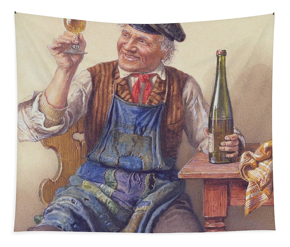 Male; Old Man; Toast; Wine; Bottle; Glass; Cap; Apron; Seated; Jolly; Merry Tapestry featuring the painting A Good Vintage by Peter Kraemer