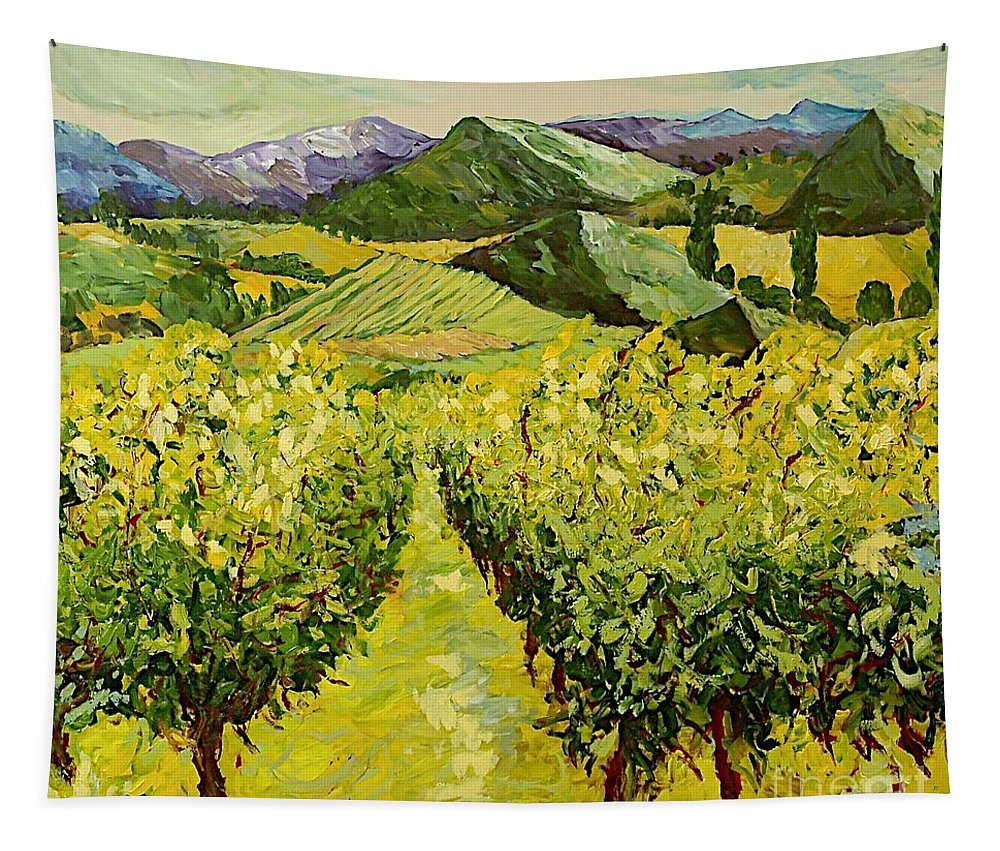 Landscape Tapestry featuring the painting A Good Year by Allan P Friedlander