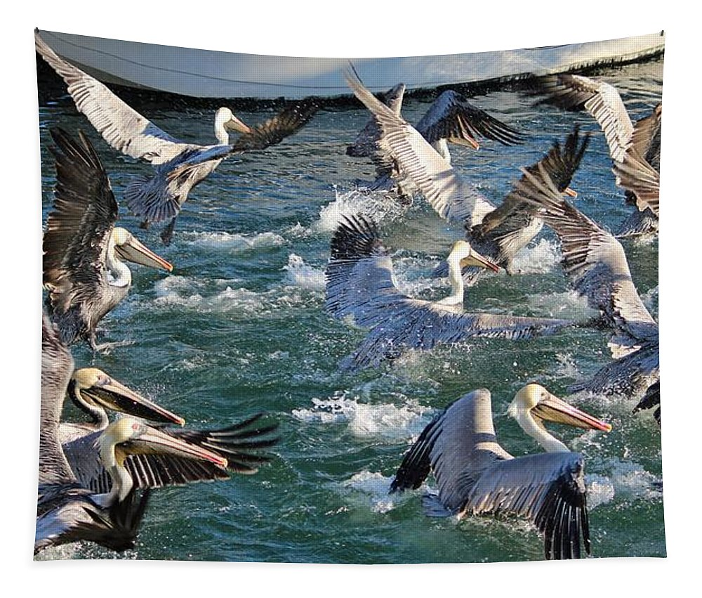Animal Tapestry featuring the photograph A Group Of Pelicans by Cynthia Guinn