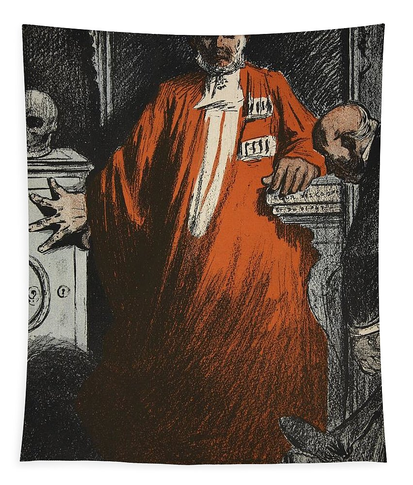 L'honneur Tapestry featuring the drawing A Judge In Full Garments, Illustration by Eugene Cadel