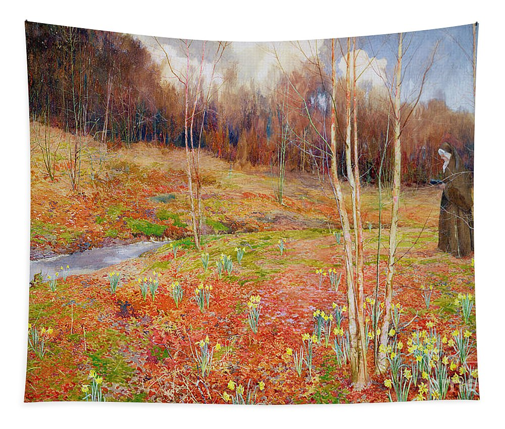 Stream Tapestry featuring the painting A Landscape In Spring With A Nun by John George Sowerby
