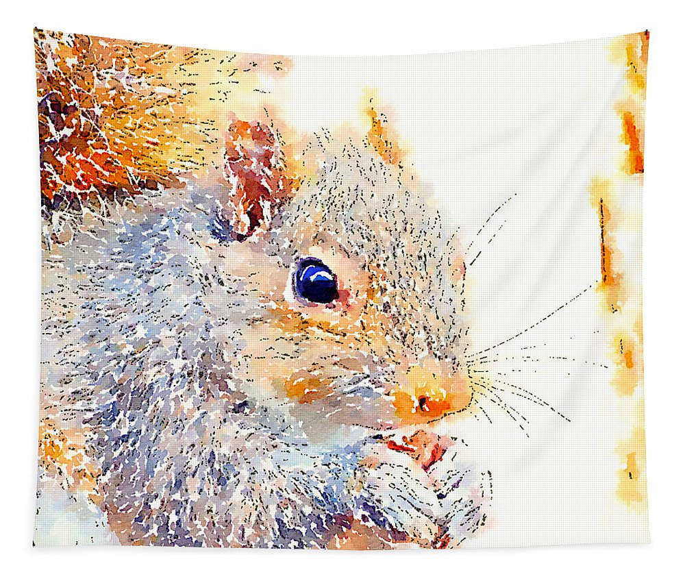 Squirrel Art Tapestry featuring the photograph A Little Bit Squirrely by Kerri Farley