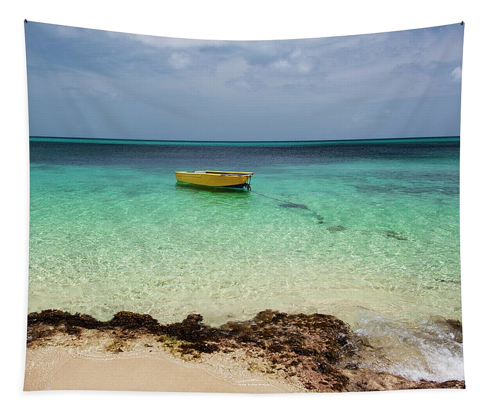Bright Tapestry featuring the photograph A Lone Boat In The Turquoise Water by Jenna Szerlag