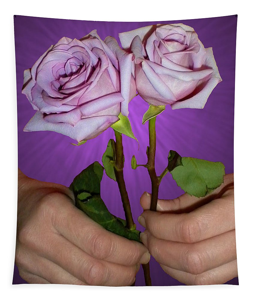 Purple Rose Tapestry featuring the photograph A Pair Of Purple Roses by Thomas Woolworth