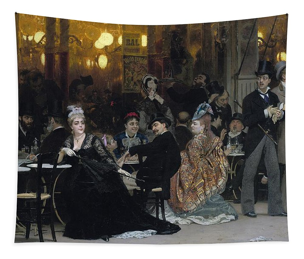 Parisian; Cafe; Paris; France; French; Male; Female; Group; Leisure; Entertainment; Bourgeois; Bourgeoisie; Flaneur;al Fresco; Seated; Standing; Society Life; Elegant; Stylish; Fashionable; Modernity; Milieu; Scandal; Scandalous; Unaccompanied; Unchaperoned; Alone; Waiting; Black Dress; Gown; Mourning; Widow; Gossip; Disapproving; Defiant; Direct Gaze; Parasol; Tables; Lamps; Drinking; Talking; Conversation; Lively; Shock; Shocked; Shocking; Conspicuous; Flaneuse; Watching; Confrontational; Bar Tapestry featuring the painting A Parisian Cafe by Ilya Efimovich Repin