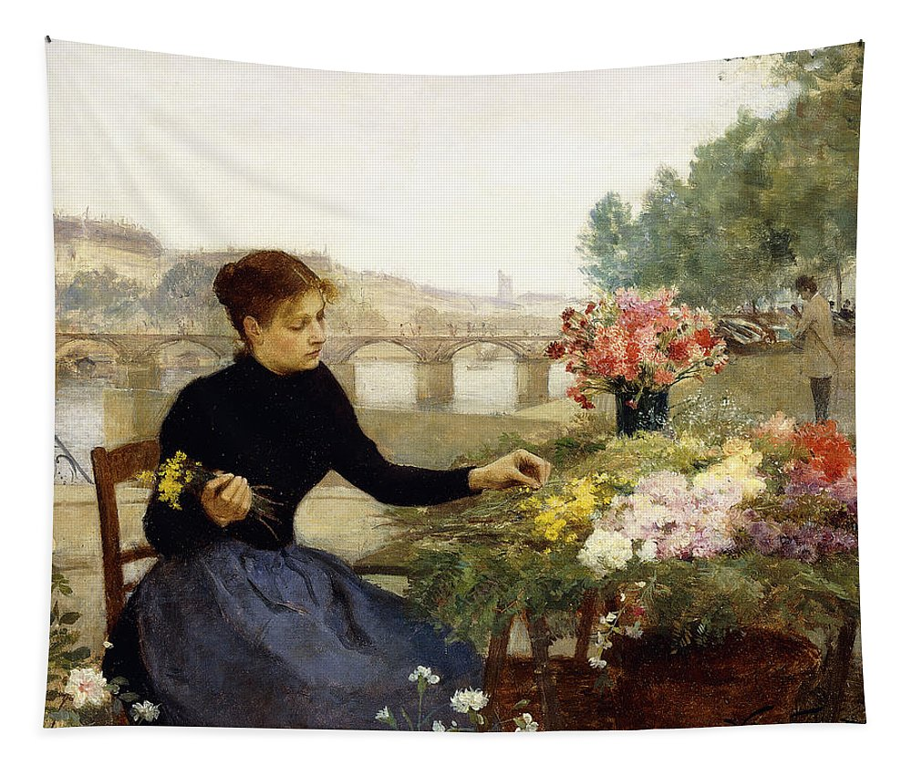 Victor Gabriel Gilbert Tapestry featuring the painting A Parisian Flower Market by Victor Gabriel Gilbert