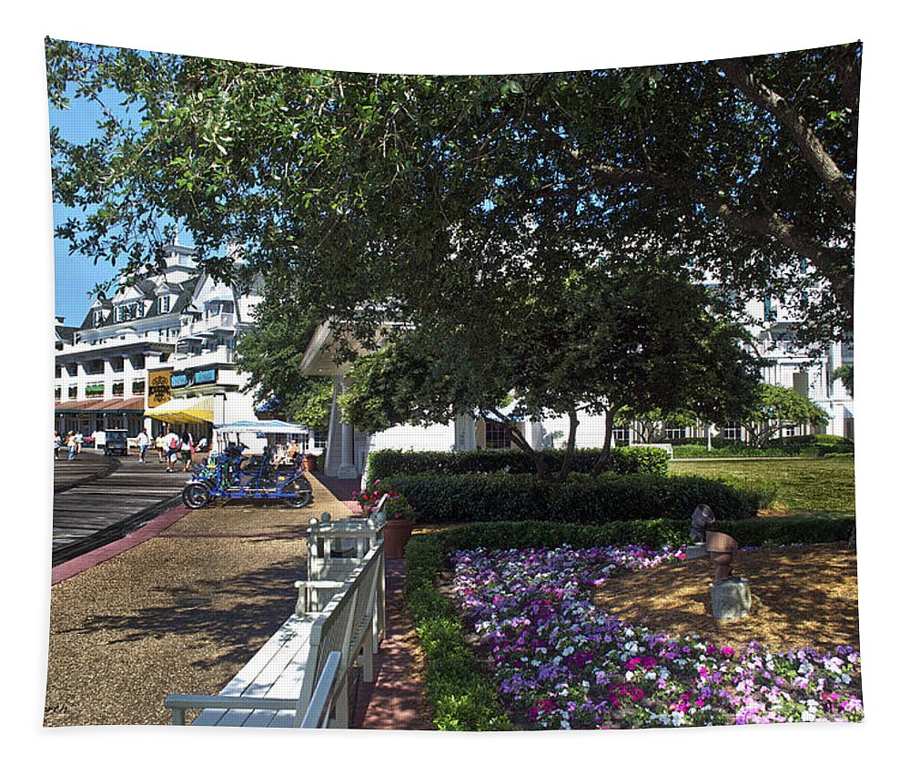 Magic Kingdom Tapestry featuring the photograph A Perfect Day On The Boardwalk Walt Disney World by Thomas Woolworth