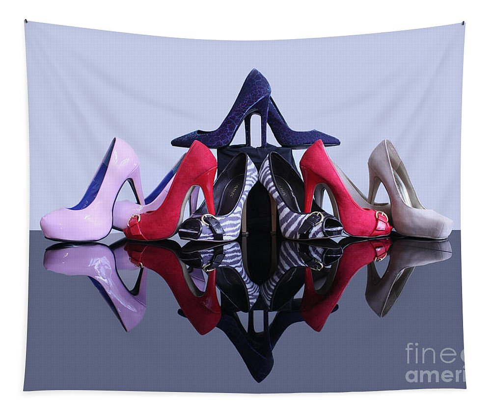 Stiletto High Heeled Shoes Tapestry featuring the photograph A Pyramid Of Shoes by Terri Waters