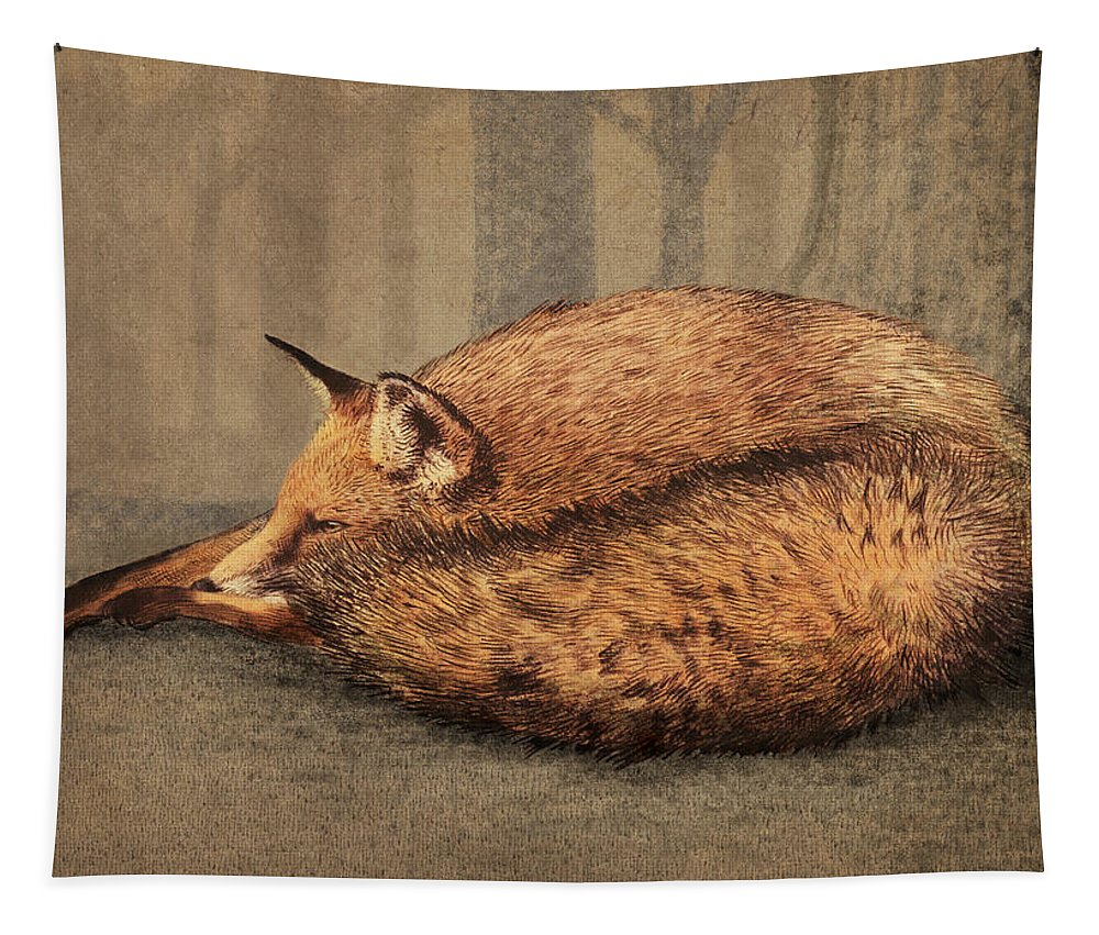 Fox Tapestry featuring the drawing A Quiet Place by Eric Fan
