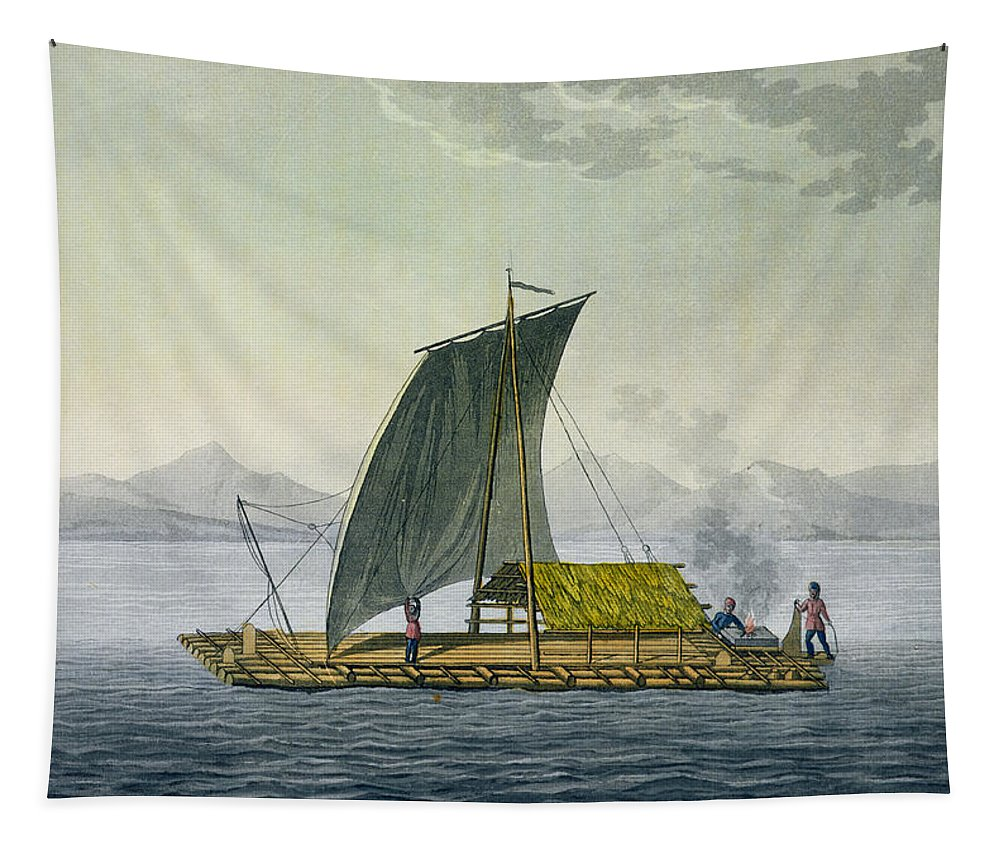 Giulio Tapestry featuring the drawing A Raft Leaving The Port Of Guayaquil by Friedrich Alexander, Baron von Humboldt