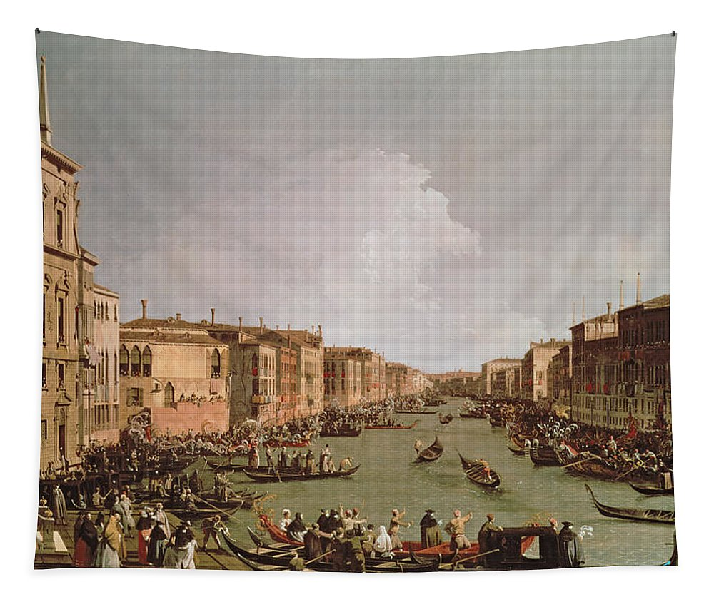 A Regatta On The Grand Canal Tapestry featuring the painting A Regatta On The Grand Canal by Antonio Canaletto