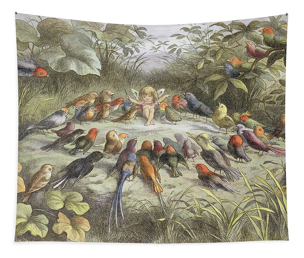 Bird Tapestry featuring the drawing A Rehearsal In Fairy Land, Illustration by Richard Doyle