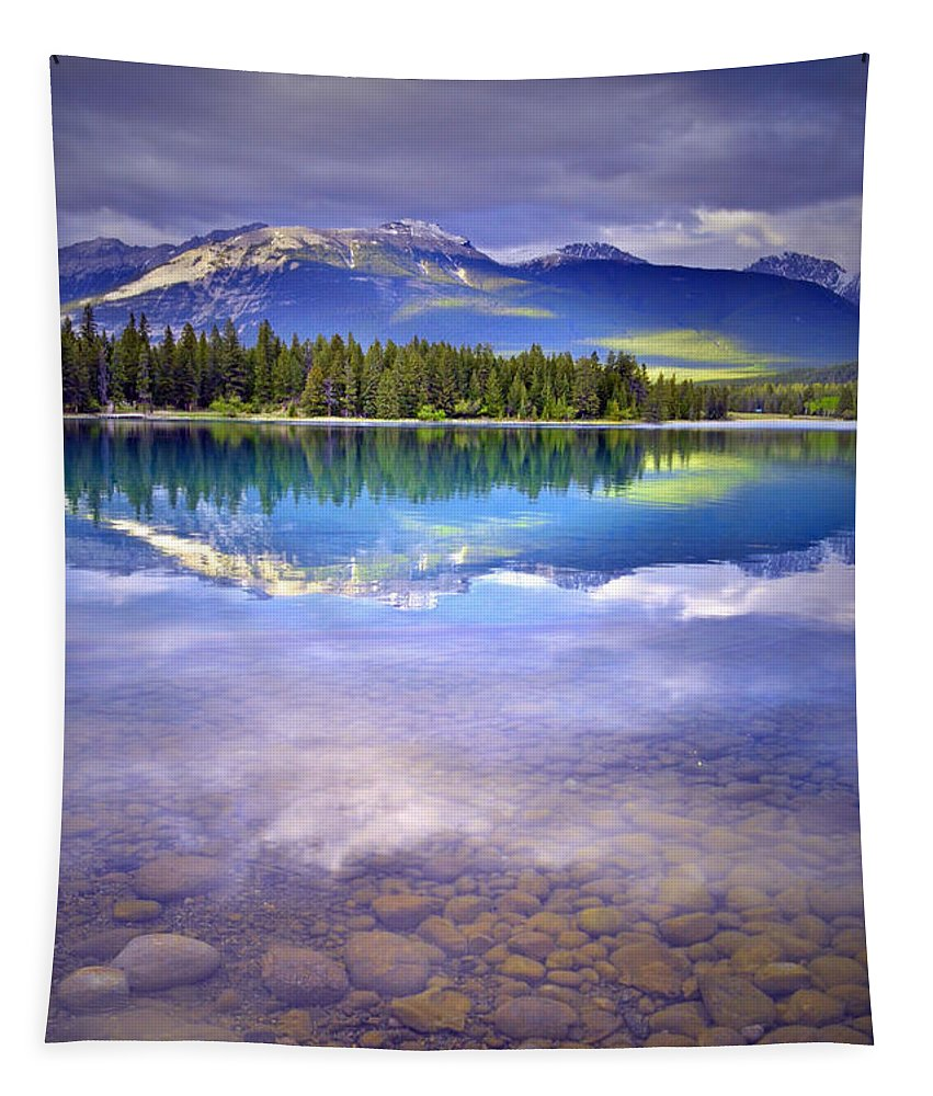 Lake Annette Tapestry featuring the photograph A Rocky Sunset by Tara Turner