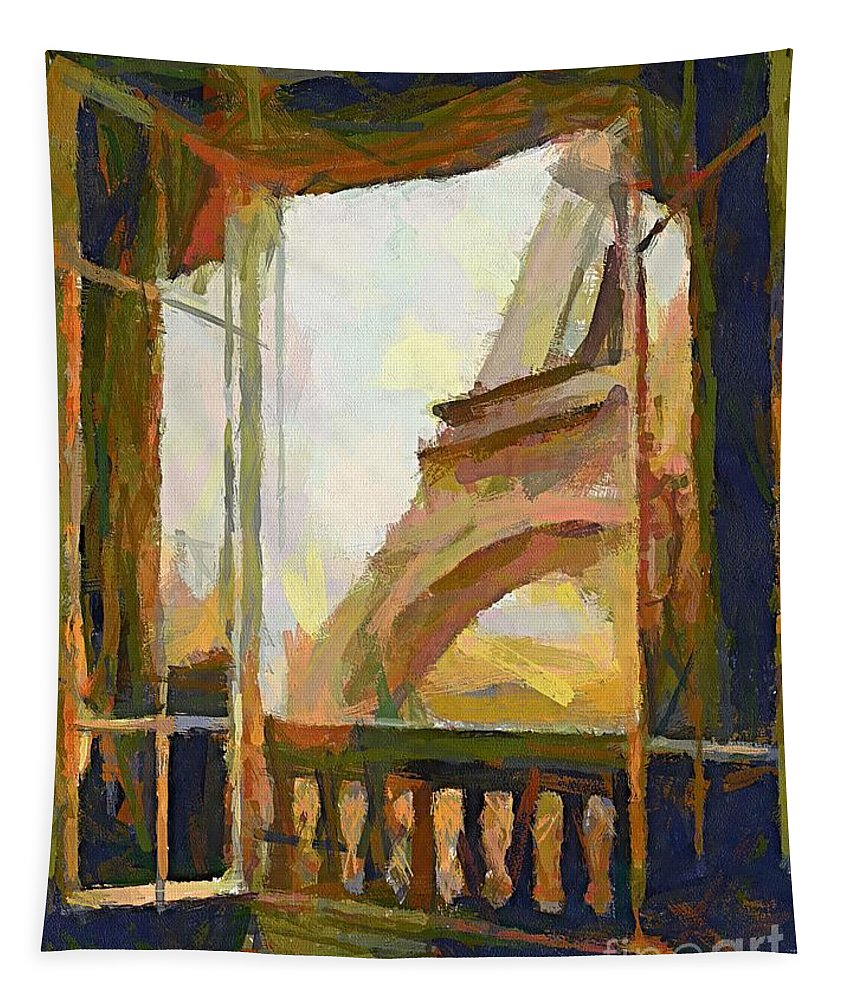 Cityscape Tapestry featuring the painting A Room With A View by Dragica Micki Fortuna