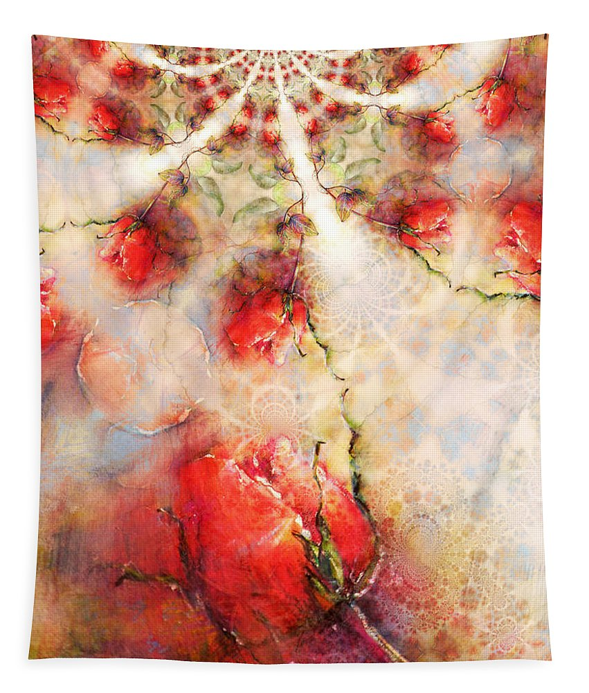 Fractal Tapestry featuring the painting A Rose Is A Rose Is A Rose by Miki De Goodaboom