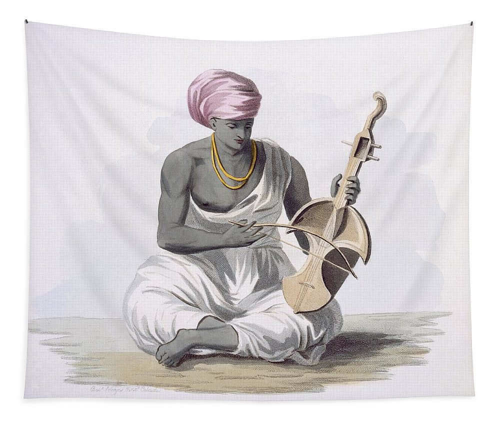 Sarinda Tapestry featuring the painting A Sarinda, Or Hindostan Type Violin by Franz Balthazar Solvyns