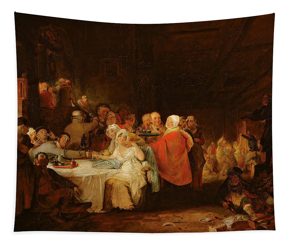 Drunk Tapestry featuring the photograph A Scotch Wedding, 1811 Panel by William Home Lizars