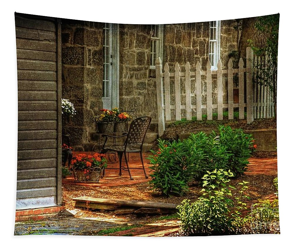 Architecture Tapestry featuring the photograph A Seat In The Shade by Lois Bryan