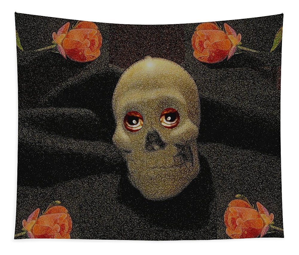 Skull Tapestry featuring the mixed media A Skull In The Dark Pop Art by Pepita Selles